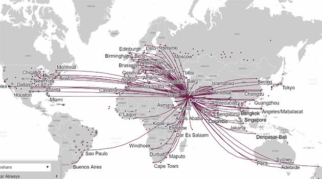 karta flygrutter europa Flyg och direktflyg till Doha (Qatar International Airport) karta flygrutter europa